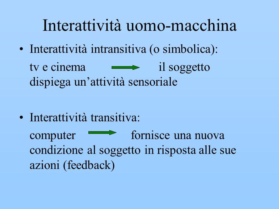 Interattività uomo-macchina Interattività intransitiva (o simbolica): tv e cinema il soggetto dispiega unattività sensoriale Interattività transitiva: computer fornisce una nuova condizione al soggetto in risposta alle sue azioni (feedback)