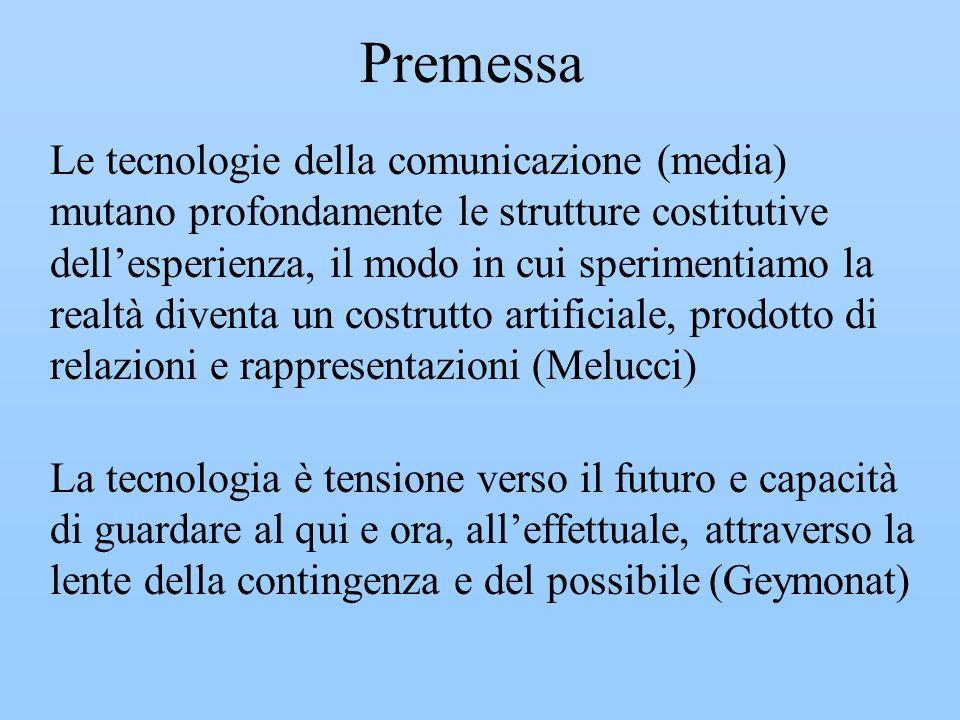 Premessa Le tecnologie della comunicazione (media) mutano profondamente le strutture costitutive dellesperienza, il modo in cui sperimentiamo la realt