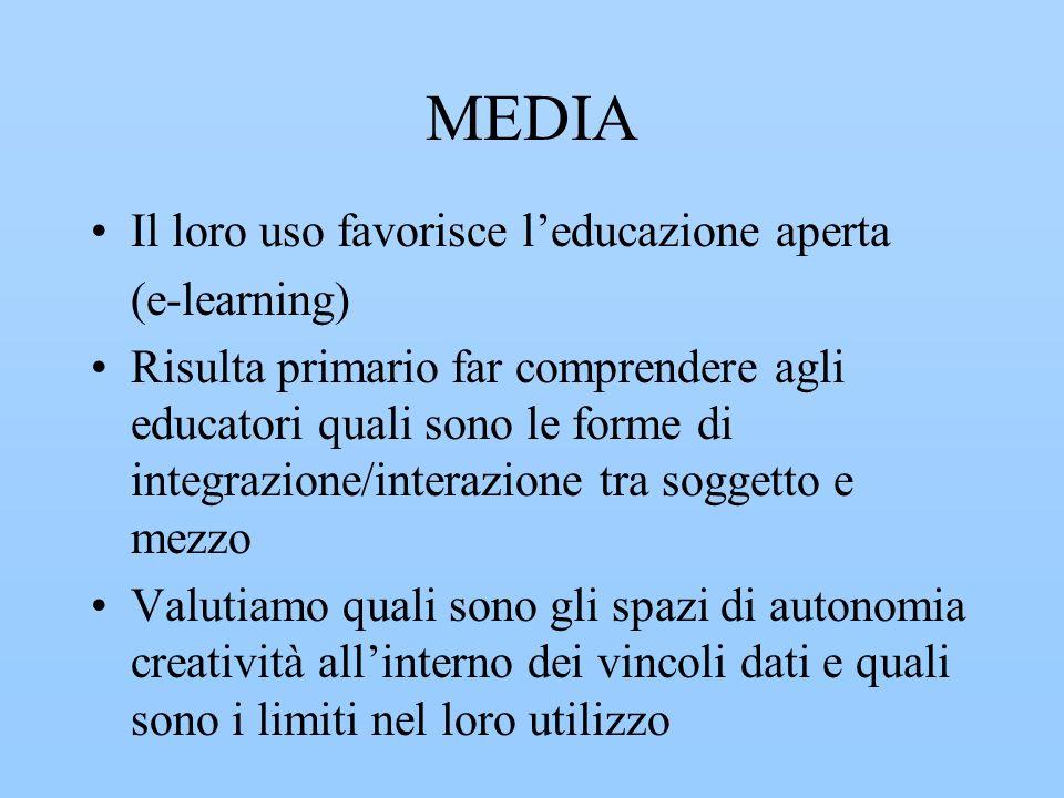 MEDIA Il loro uso favorisce leducazione aperta (e-learning) Risulta primario far comprendere agli educatori quali sono le forme di integrazione/intera