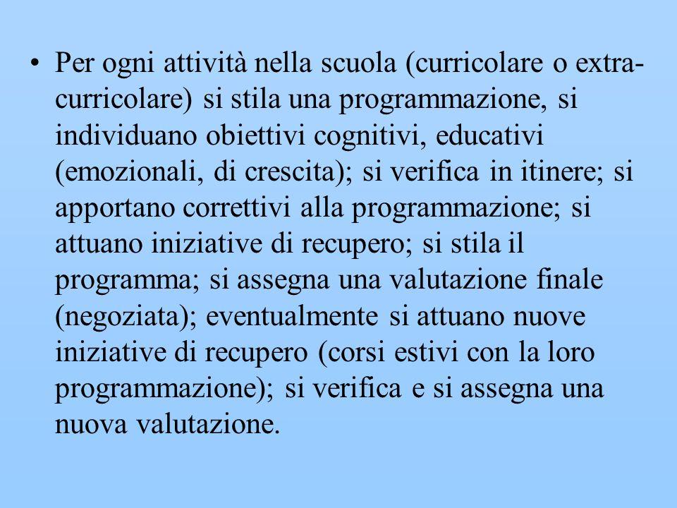 Per ogni attività nella scuola (curricolare o extra- curricolare) si stila una programmazione, si individuano obiettivi cognitivi, educativi (emoziona