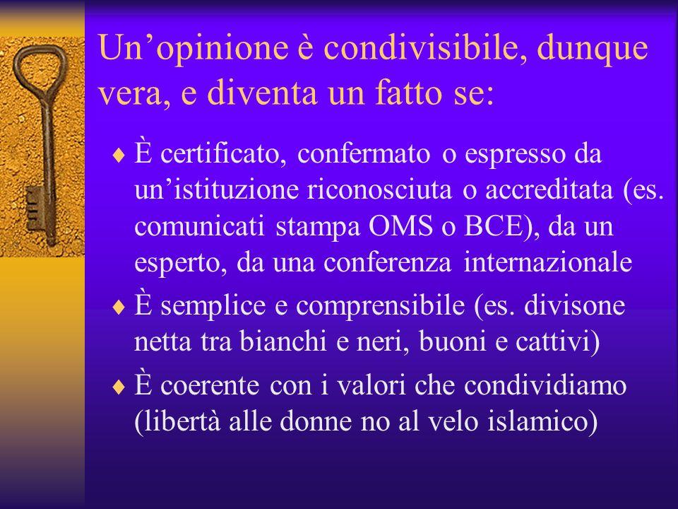Unopinione è condivisibile, dunque vera, e diventa un fatto se: È certificato, confermato o espresso da unistituzione riconosciuta o accreditata (es.