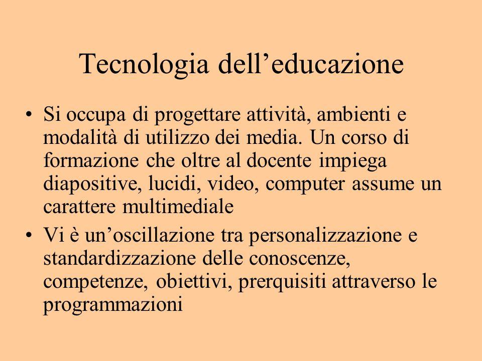 Tecnologia delleducazione Si occupa di progettare attività, ambienti e modalità di utilizzo dei media.