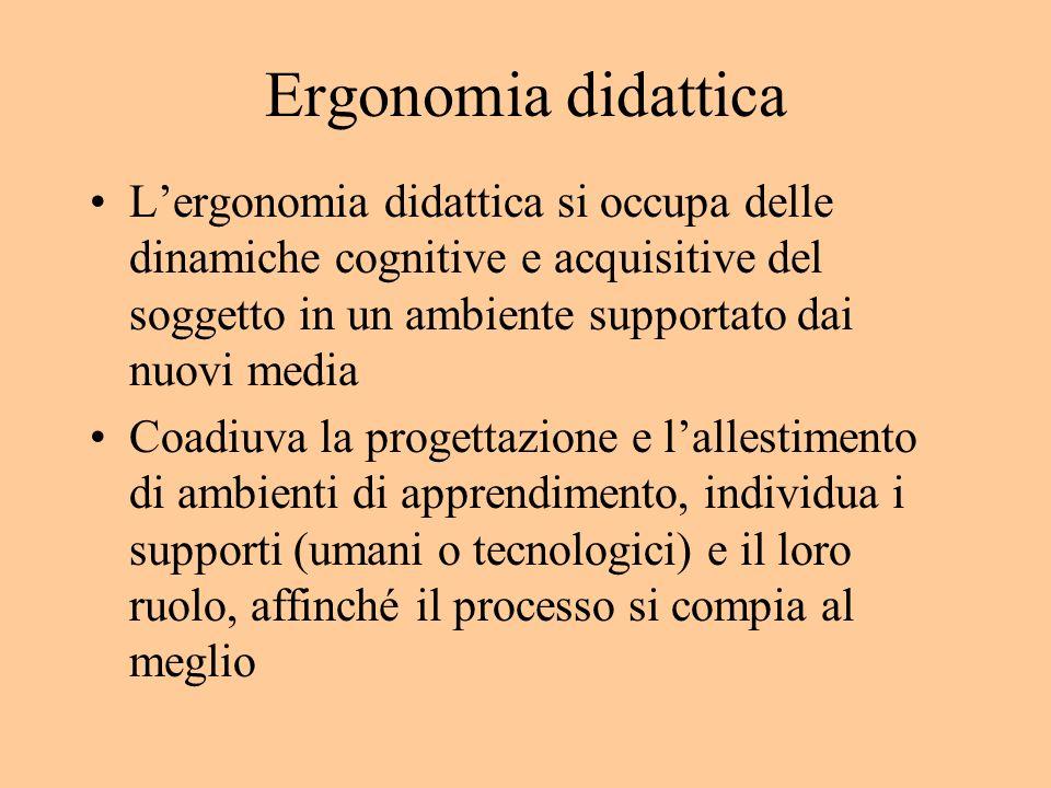 Ergonomia didattica Lergonomia didattica si occupa delle dinamiche cognitive e acquisitive del soggetto in un ambiente supportato dai nuovi media Coadiuva la progettazione e lallestimento di ambienti di apprendimento, individua i supporti (umani o tecnologici) e il loro ruolo, affinché il processo si compia al meglio