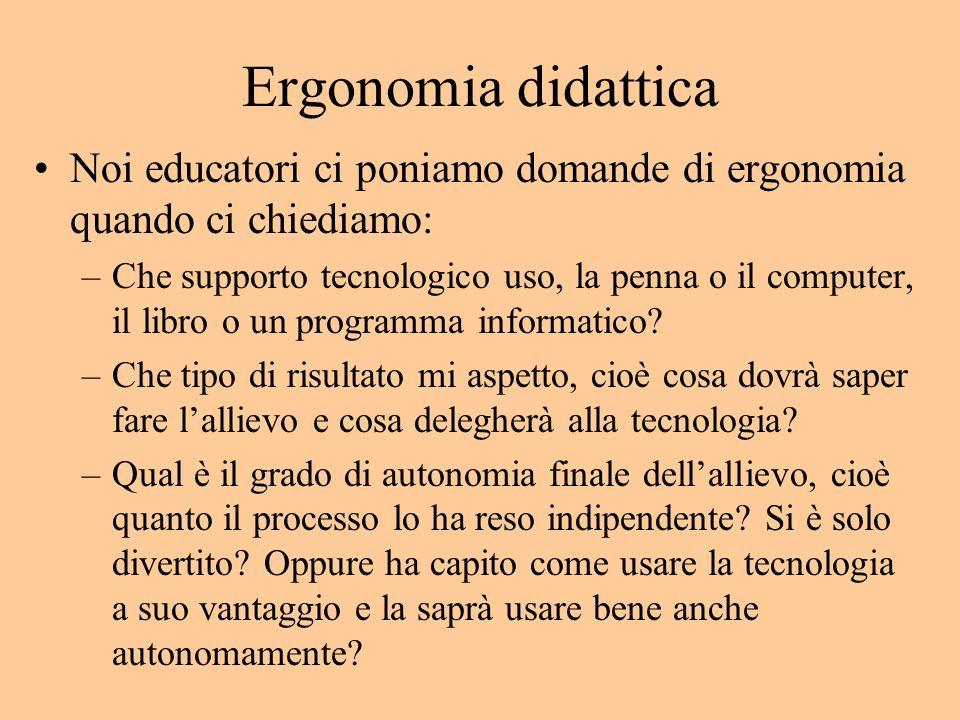 Ergonomia didattica Noi educatori ci poniamo domande di ergonomia quando ci chiediamo: –Che supporto tecnologico uso, la penna o il computer, il libro o un programma informatico.