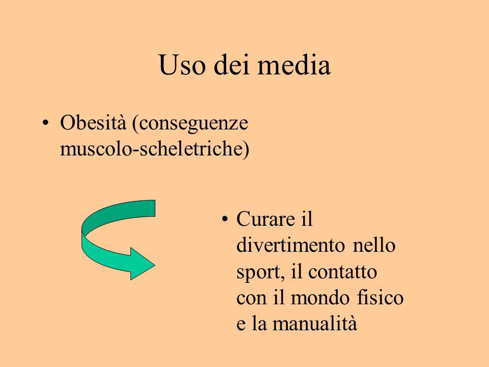 Uso dei media Obesità (conseguenze muscolo-scheletriche) Curare il divertimento nello sport, il contatto con il mondo fisico e la manualità