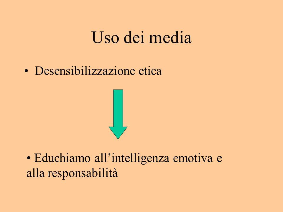 Uso dei media Desensibilizzazione etica Educhiamo allintelligenza emotiva e alla responsabilità