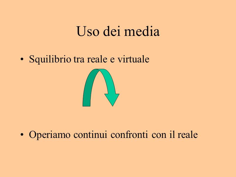 Uso dei media Squilibrio tra reale e virtuale Operiamo continui confronti con il reale