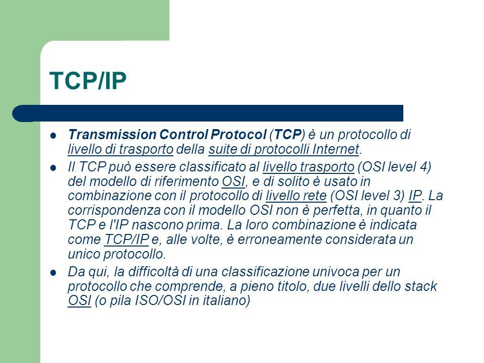 TCP/IP Transmission Control Protocol (TCP) è un protocollo di livello di trasporto della suite di protocolli Internet.