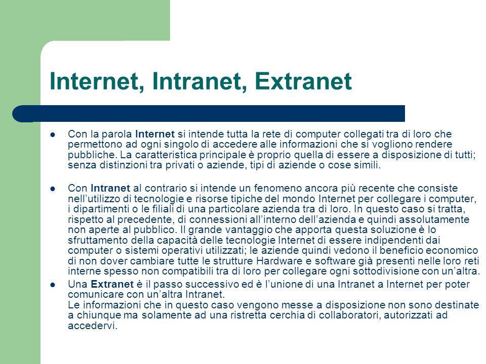 Internet, Intranet, Extranet Con la parola Internet si intende tutta la rete di computer collegati tra di loro che permettono ad ogni singolo di accedere alle informazioni che si vogliono rendere pubbliche.