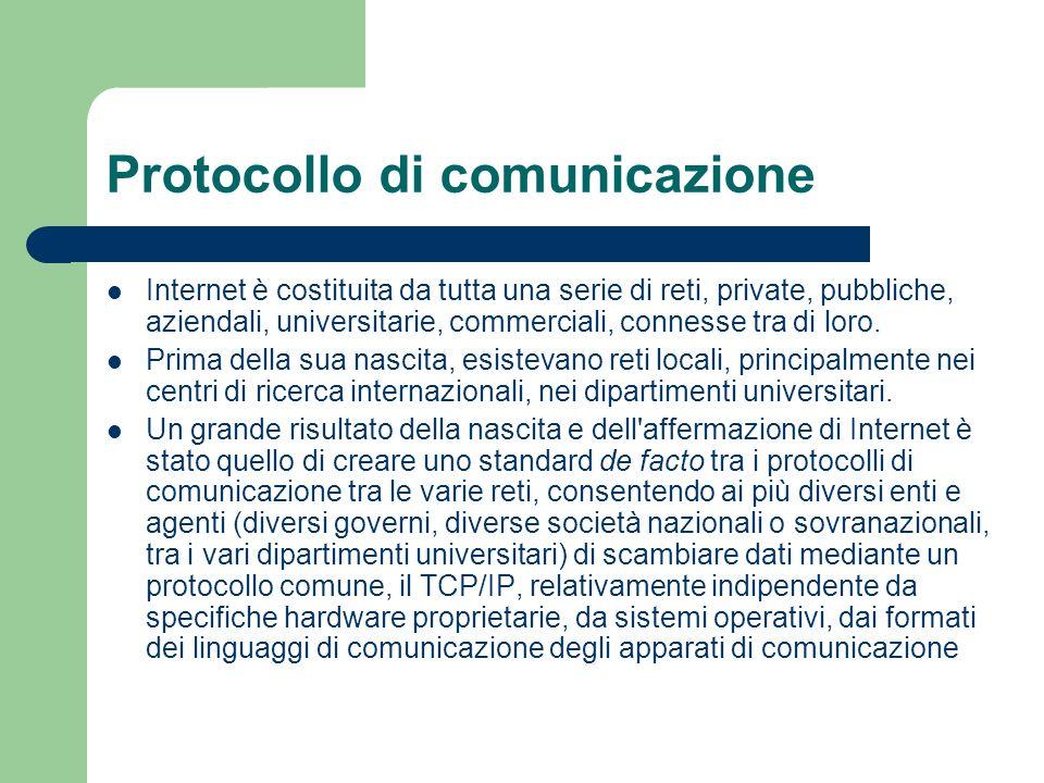 Protocollo di comunicazione Internet è costituita da tutta una serie di reti, private, pubbliche, aziendali, universitarie, commerciali, connesse tra di loro.