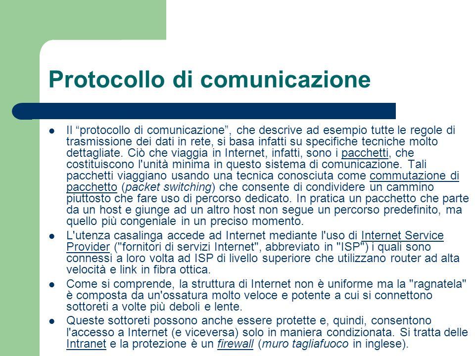 Protocollo di comunicazione Il protocollo di comunicazione, che descrive ad esempio tutte le regole di trasmissione dei dati in rete, si basa infatti su specifiche tecniche molto dettagliate.