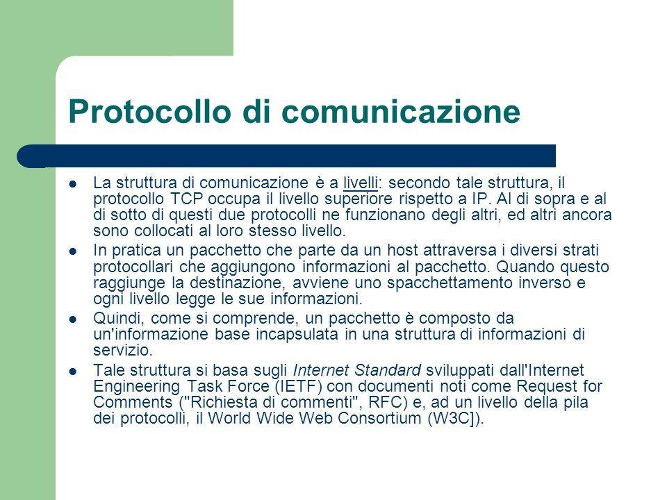 Protocollo di comunicazione La struttura di comunicazione è a livelli: secondo tale struttura, il protocollo TCP occupa il livello superiore rispetto a IP.