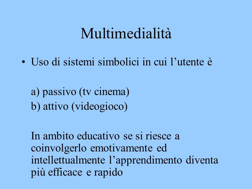 Multimedialità Uso di sistemi simbolici in cui lutente è a) passivo (tv cinema) b) attivo (videogioco) In ambito educativo se si riesce a coinvolgerlo emotivamente ed intellettualmente lapprendimento diventa più efficace e rapido