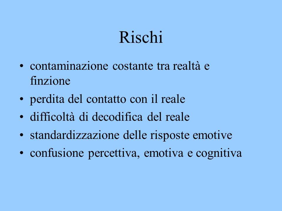 Rischi contaminazione costante tra realtà e finzione perdita del contatto con il reale difficoltà di decodifica del reale standardizzazione delle risposte emotive confusione percettiva, emotiva e cognitiva