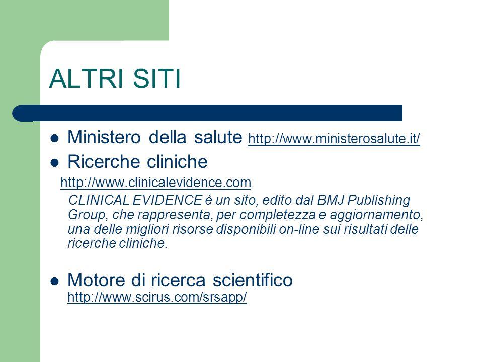 ALTRI SITI Ministero della salute http://www.ministerosalute.it/http://www.ministerosalute.it/ Ricerche cliniche http://www.clinicalevidence.com CLINI