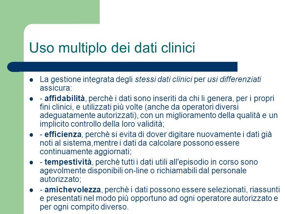 Uso multiplo dei dati clinici La gestione integrata degli stessi dati clinici per usi differenziati assicura: - affidabilità, perchè i dati sono inser