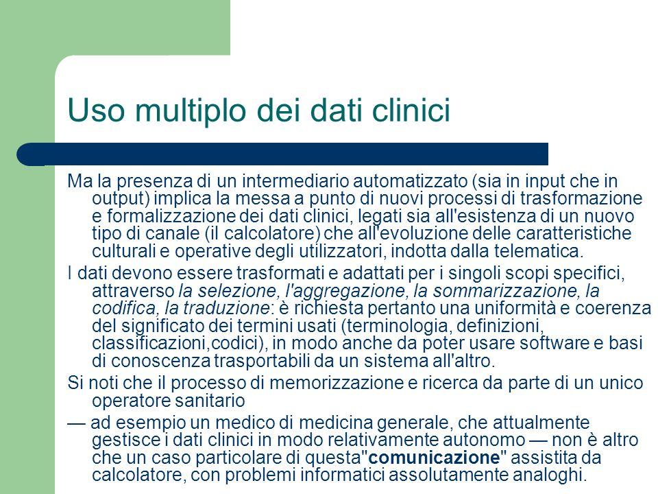 Uso multiplo dei dati clinici Ma la presenza di un intermediario automatizzato (sia in input che in output) implica la messa a punto di nuovi processi