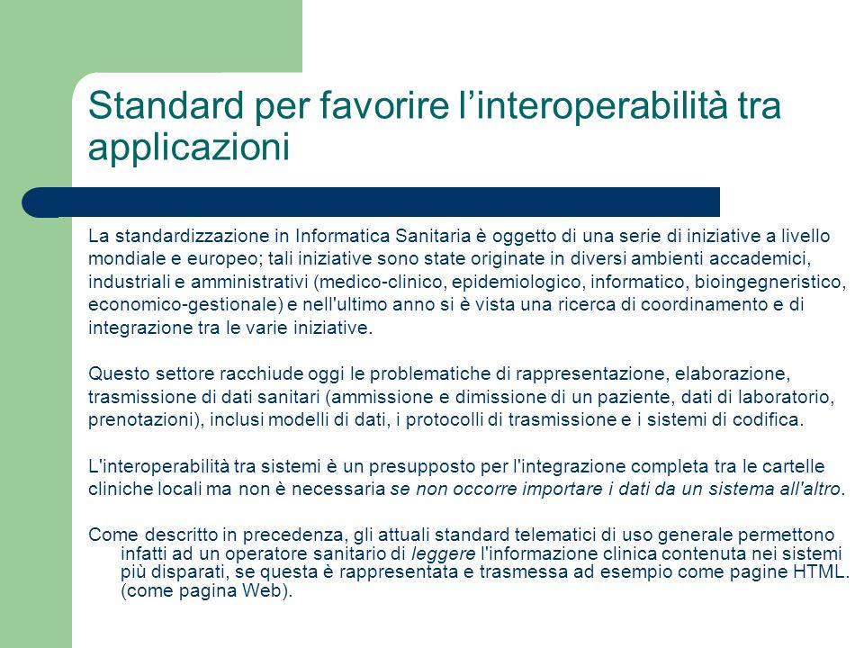 Standard per favorire linteroperabilità tra applicazioni La standardizzazione in Informatica Sanitaria è oggetto di una serie di iniziative a livello