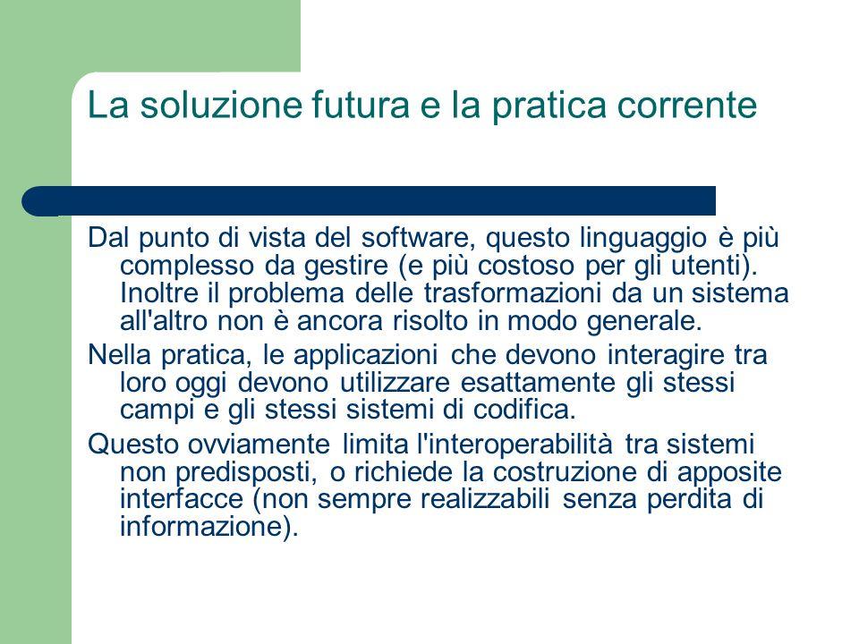 La soluzione futura e la pratica corrente Dal punto di vista del software, questo linguaggio è più complesso da gestire (e più costoso per gli utenti).
