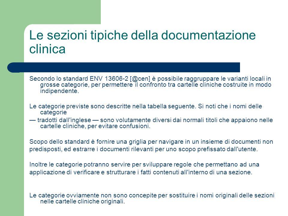 Le sezioni tipiche della documentazione clinica Secondo lo standard ENV 13606-2 [@cen] è possibile raggruppare le varianti locali in grosse categorie,