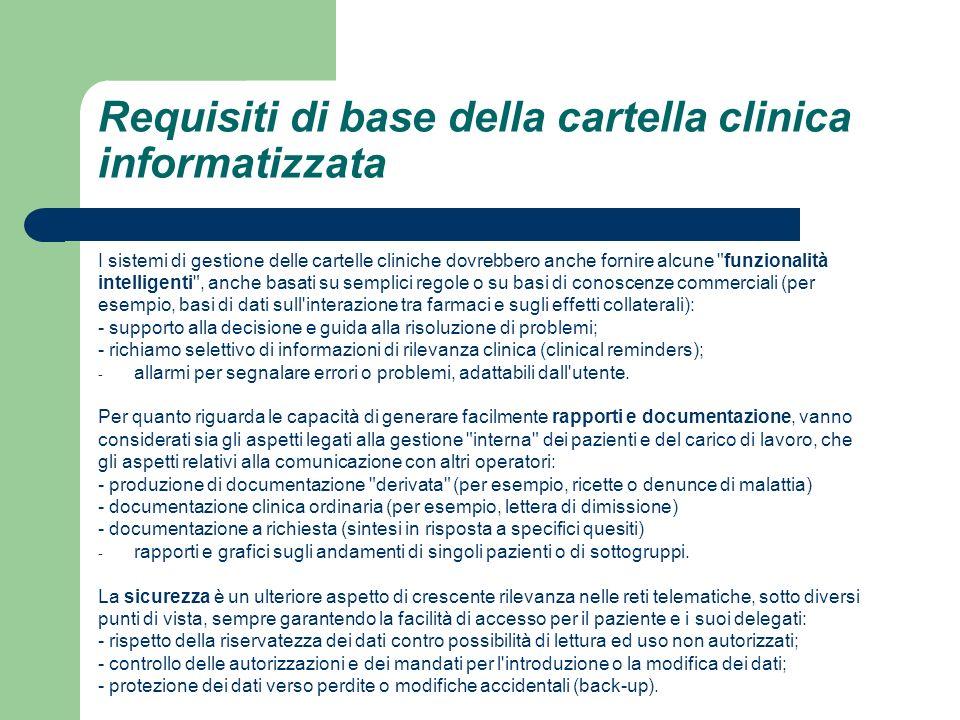 Requisiti di base della cartella clinica informatizzata I sistemi di gestione delle cartelle cliniche dovrebbero anche fornire alcune