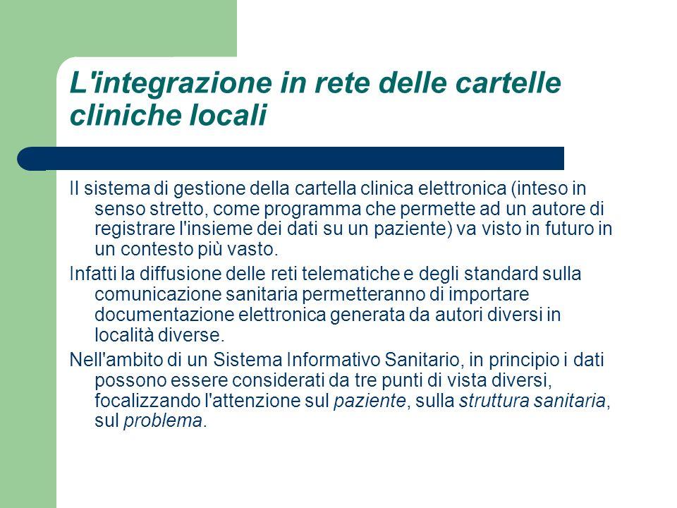 L'integrazione in rete delle cartelle cliniche locali Il sistema di gestione della cartella clinica elettronica (inteso in senso stretto, come program