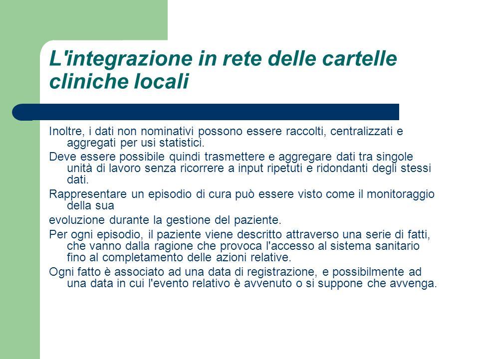 L'integrazione in rete delle cartelle cliniche locali Inoltre, i dati non nominativi possono essere raccolti, centralizzati e aggregati per usi statis