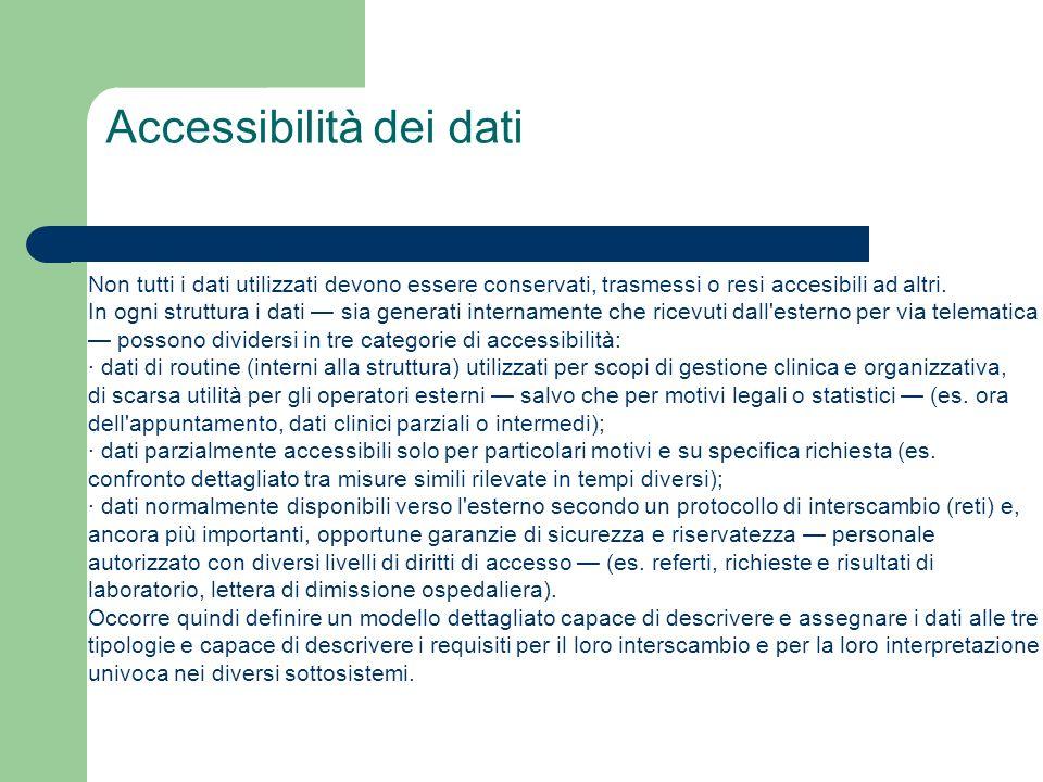 Accessibilità dei dati Non tutti i dati utilizzati devono essere conservati, trasmessi o resi accesibili ad altri. In ogni struttura i dati sia genera