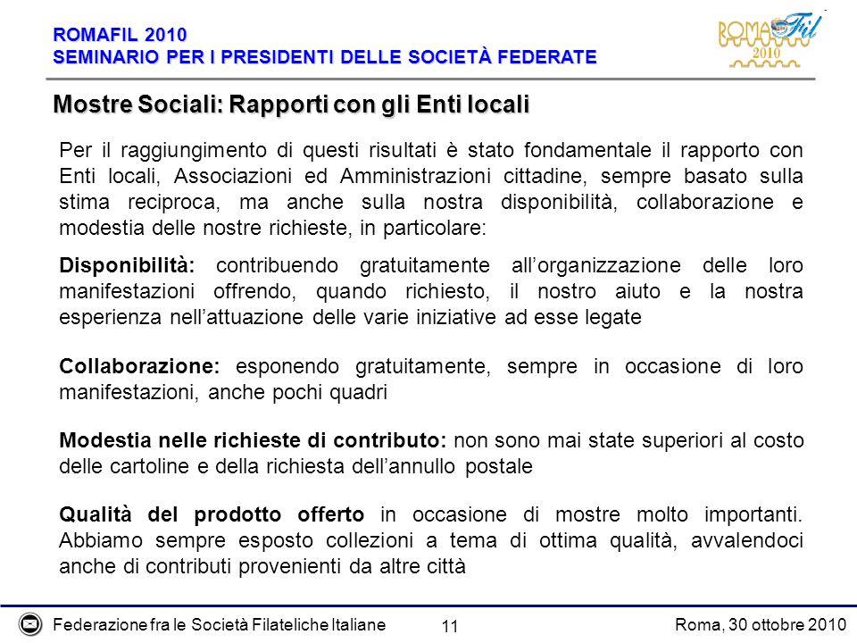 Federazione fra le Società Filateliche ItalianeRoma, 30 ottobre 2010 ROMAFIL 2010 SEMINARIO PER I PRESIDENTI DELLE SOCIETÀ FEDERATE 11 Mostre Sociali: