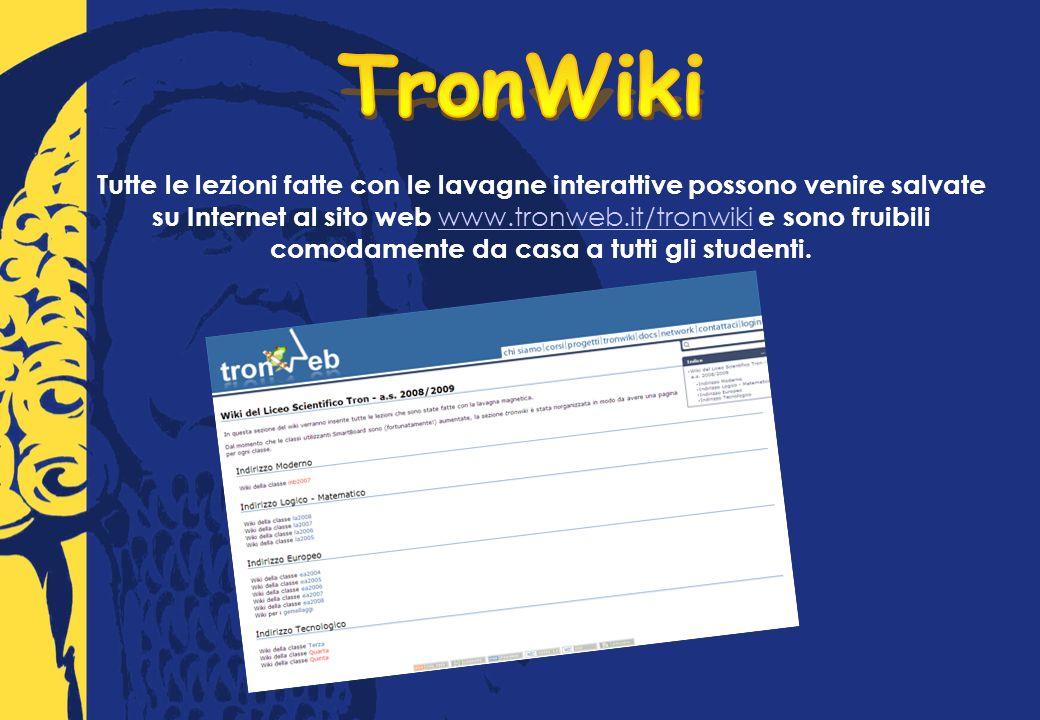 Tutte le lezioni fatte con le lavagne interattive possono venire salvate su Internet al sito web www.tronweb.it/tronwiki e sono fruibili comodamente da casa a tutti gli studenti.
