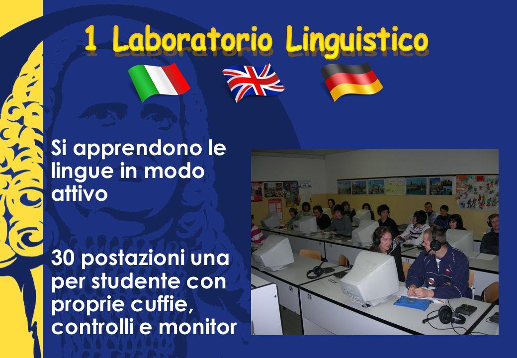 Si apprendono le lingue in modo attivo 30 postazioni una per studente con proprie cuffie, controlli e monitor