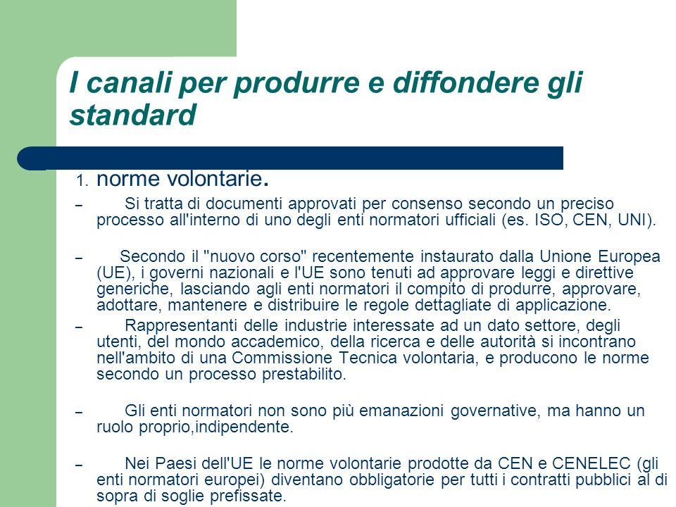 I canali per produrre e diffondere gli standard 1. norme volontarie. – Si tratta di documenti approvati per consenso secondo un preciso processo all'i