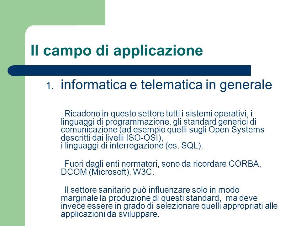 Il campo di applicazione 1. informatica e telematica in generale Ricadono in questo settore tutti i sistemi operativi, i linguaggi di programmazione,
