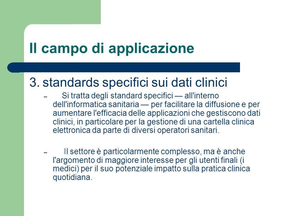 Il campo di applicazione 3. standards specifici sui dati clinici – Si tratta degli standard specifici all'interno dell'informatica sanitaria per facil