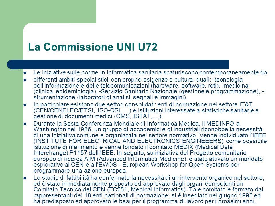 La Commissione UNI U72 Le iniziative sulle norme in informatica sanitaria scaturiscono contemporaneamente da differenti ambiti specialistici, con prop