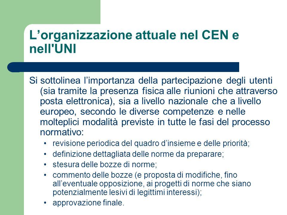 Lorganizzazione attuale nel CEN e nell'UNI Si sottolinea limportanza della partecipazione degli utenti (sia tramite la presenza fisica alle riunioni c