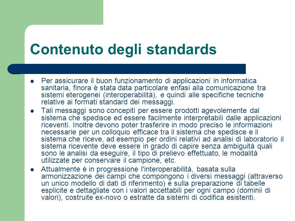 Contenuto degli standards Per assicurare il buon funzionamento di applicazioni in informatica sanitaria, finora è stata data particolare enfasi alla c