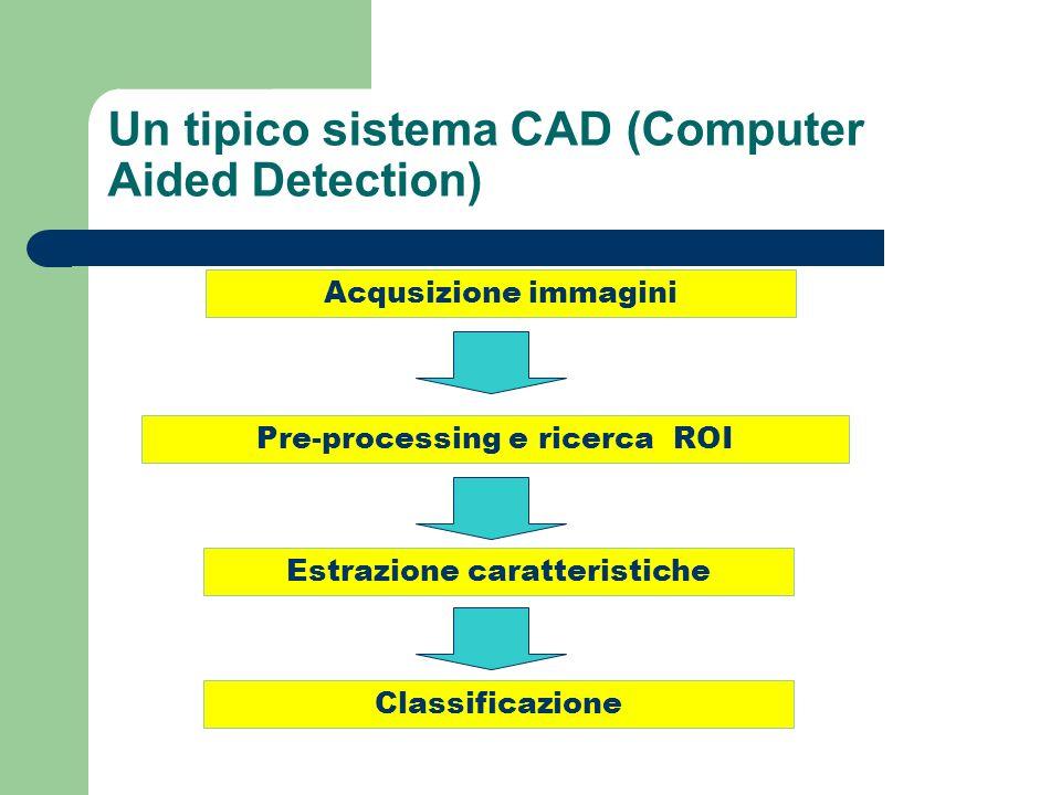 Acqusizione immagini Pre-processing e ricerca ROI Estrazione caratteristiche Classificazione CAD Un tipico sistema CAD (Computer Aided Detection)