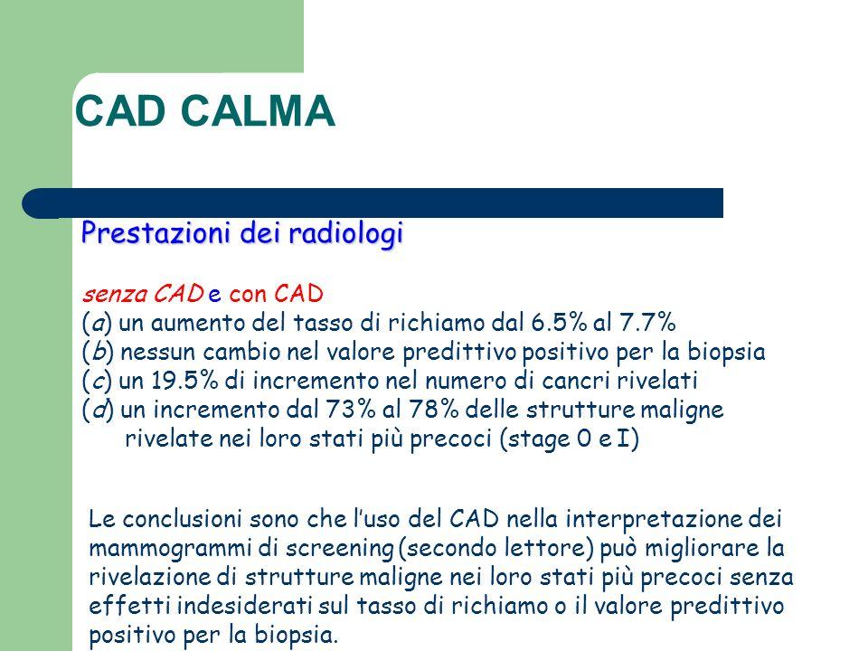 Prestazioni dei radiologi senza CAD e con CAD (a) un aumento del tasso di richiamo dal 6.5% al 7.7% (b) nessun cambio nel valore predittivo positivo p