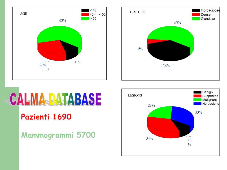 Pazienti 1690 Mammogrammi 5700 34% 10 % 23% 33% 11% 63% 26% 6% 36% 58%