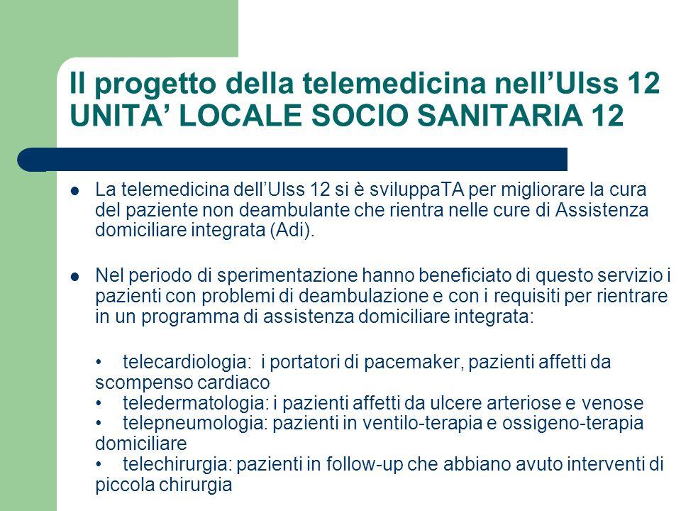 Il progetto della telemedicina nellUlss 12 UNITA LOCALE SOCIO SANITARIA 12 La telemedicina dellUlss 12 si è sviluppaTA per migliorare la cura del pazi