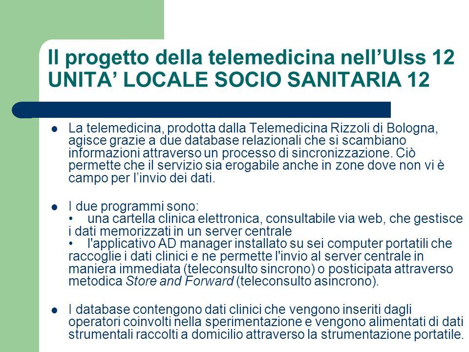 Il progetto della telemedicina nellUlss 12 UNITA LOCALE SOCIO SANITARIA 12 La telemedicina, prodotta dalla Telemedicina Rizzoli di Bologna, agisce gra