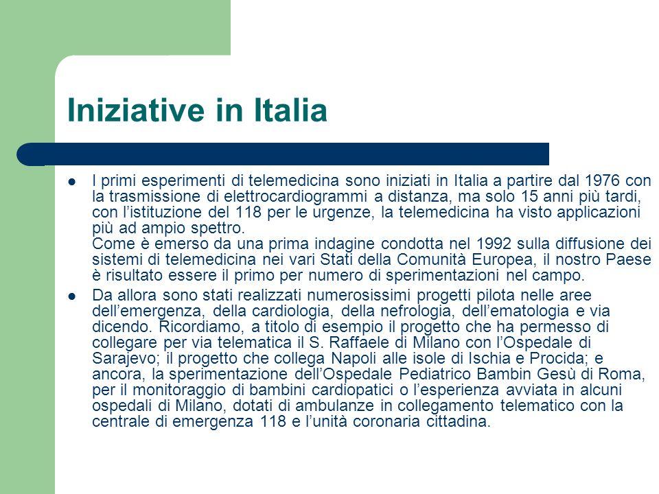 Iniziative in Italia I primi esperimenti di telemedicina sono iniziati in Italia a partire dal 1976 con la trasmissione di elettrocardiogrammi a dista