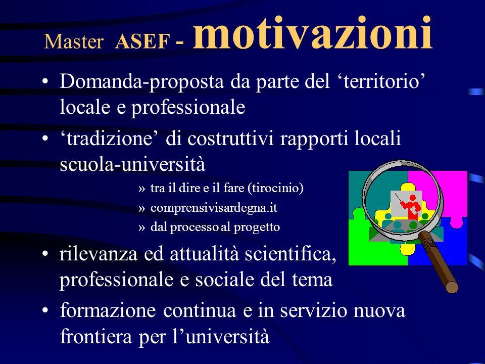 Master ASEF - motivazioni Domanda-proposta da parte del territorio locale e professionale tradizione di costruttivi rapporti locali scuola-università