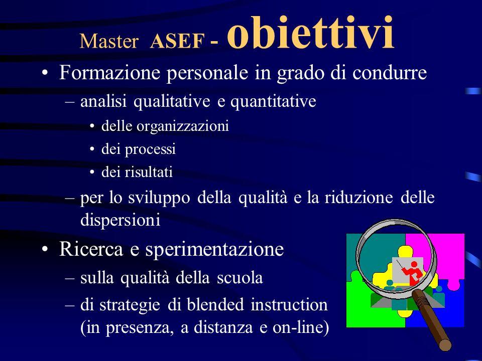 Master ASEF - obiettivi Formazione personale in grado di condurre –analisi qualitative e quantitative delle organizzazioni dei processi dei risultati