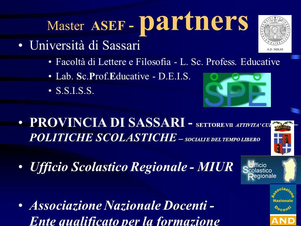 Master ASEF - ruoli Università: –direzione, sviluppo e certificazione Provincia: –collaborazione e 25 borse di studio Ufficio Scolastico Regionale –collaborazione e 5 borse di studio Ass.