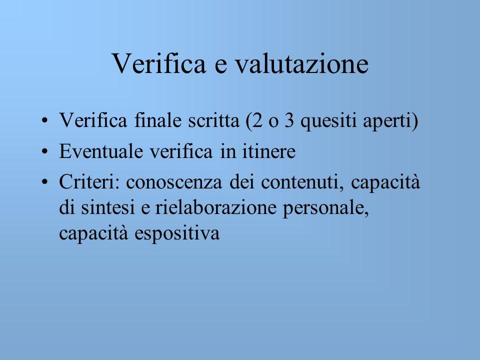 Verifica e valutazione Verifica finale scritta (2 o 3 quesiti aperti) Eventuale verifica in itinere Criteri: conoscenza dei contenuti, capacità di sintesi e rielaborazione personale, capacità espositiva