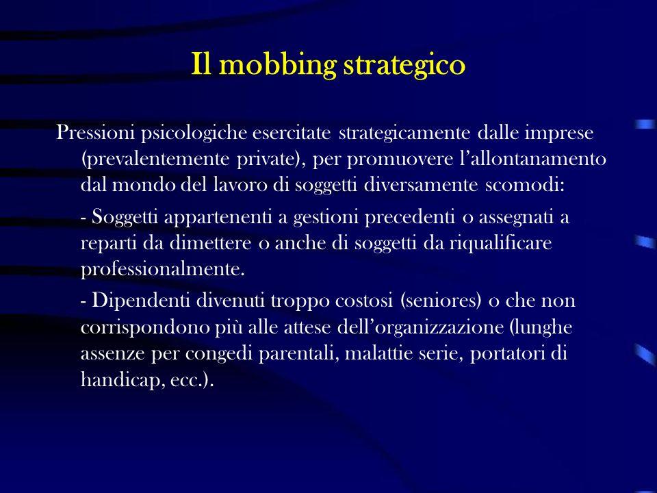 Il mobbing strategico Pressioni psicologiche esercitate strategicamente dalle imprese (prevalentemente private), per promuovere lallontanamento dal mo