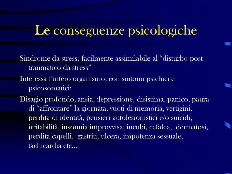 Le conseguenze psicologiche Sindrome da stress, facilmente assimilabile al disturbo post traumatico da stress Interessa lintero organismo, con sintomi
