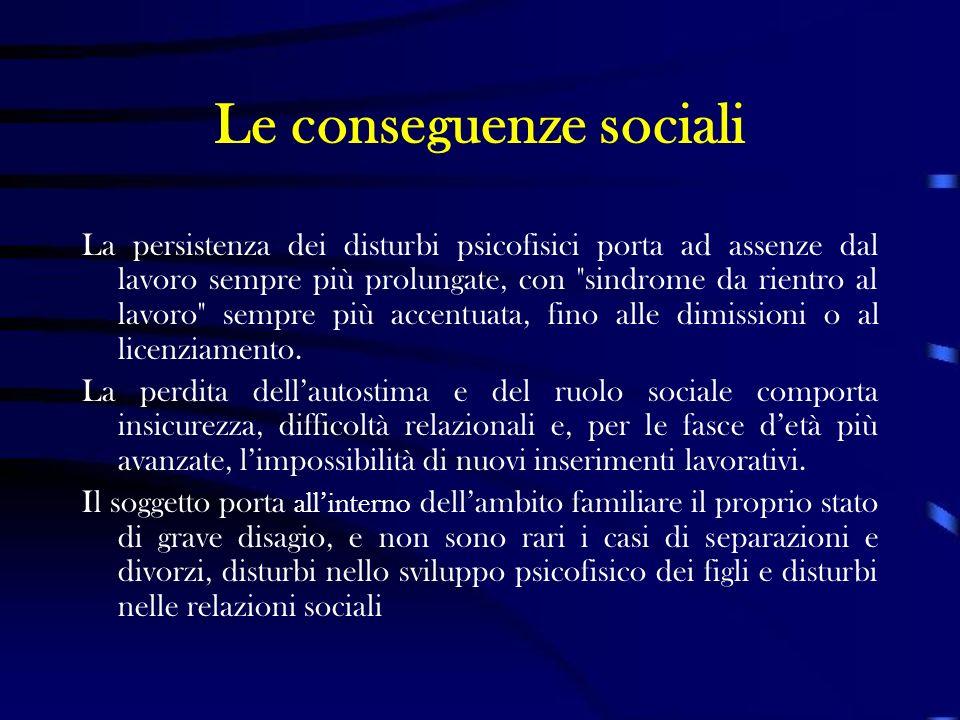 Le conseguenze sociali La persistenza dei disturbi psicofisici porta ad assenze dal lavoro sempre più prolungate, con